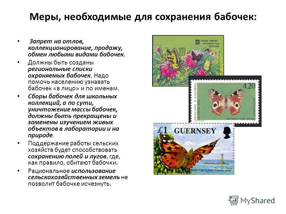 Меры, необходимые для сохранения бабочек: Запрет на отлов, коллекционирование, продажу, обмен любыми видами бабочек. Должны быть созданы региональные списки охраняемых бабочек. Надо помочь населению узнавать бабочек «в лицо» и по именам. Сборы бабоче