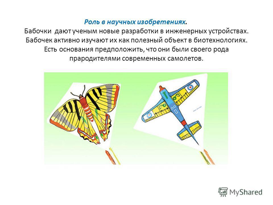 Роль в научных изобретениях. Бабочки дают ученым новые разработки в инженерных устройствах. Бабочек активно изучают их как полезный объект в биотехнологиях. Есть основания предположить, что они были своего рода прародителями современных самолетов.