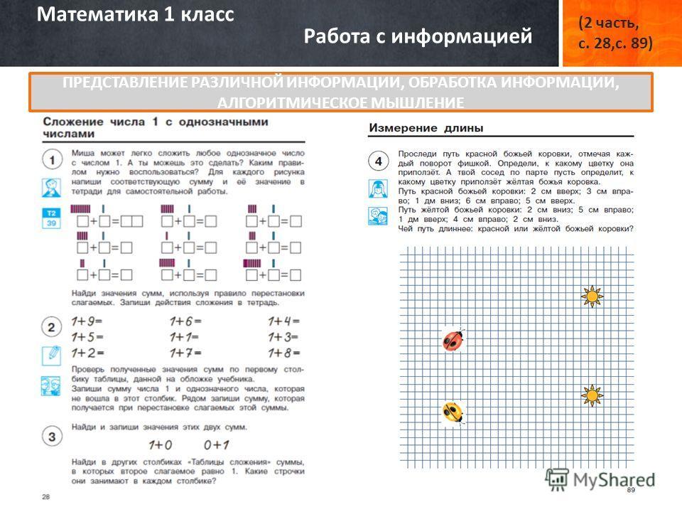 Математика 1 класс Работа с информацией (2 часть, с. 28,с. 89) ПРЕДСТАВЛЕНИЕ РАЗЛИЧНОЙ ИНФОРМАЦИИ, ОБРАБОТКА ИНФОРМАЦИИ, АЛГОРИТМИЧЕСКОЕ МЫШЛЕНИЕ