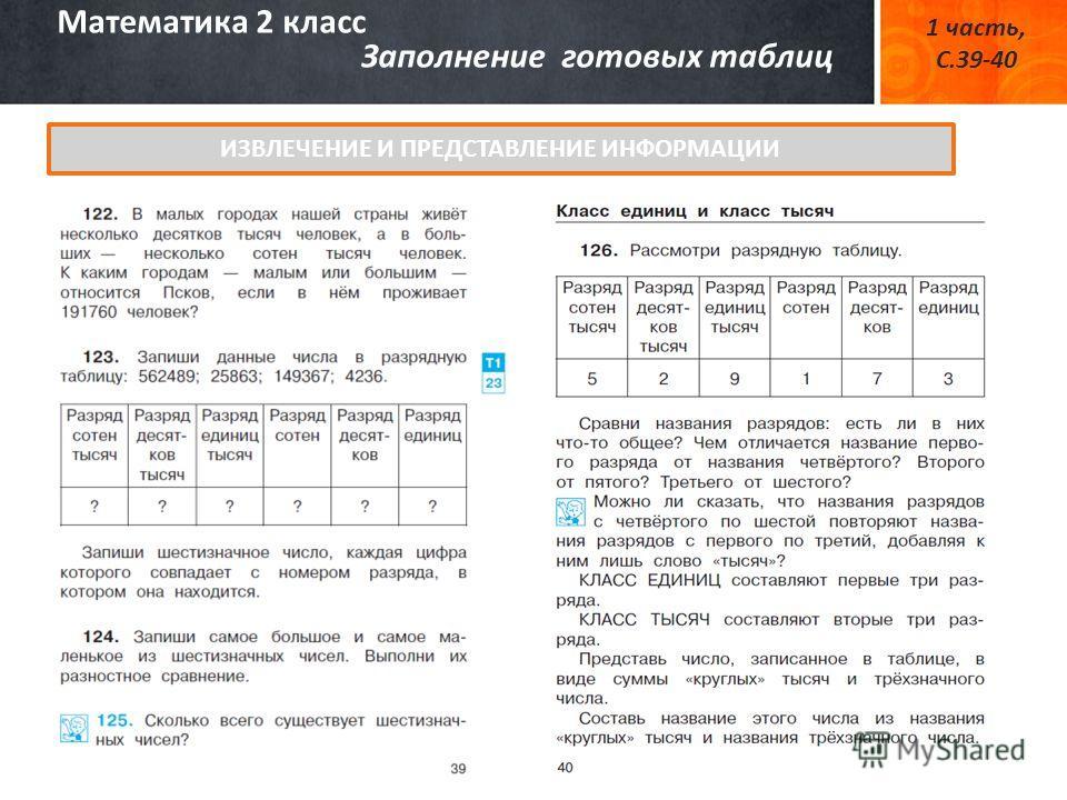 Математика 2 класс Заполнение готовых таблиц 1 часть, С.39-40 ИЗВЛЕЧЕНИЕ И ПРЕДСТАВЛЕНИЕ ИНФОРМАЦИИ