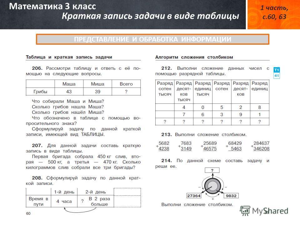 Математика 3 класс Краткая запись задачи в виде таблицы 1 часть, с.60, 63 ПРЕДСТАВЛЕНИЕ И ОБРАБОТКА ИНФОРМАЦИИ