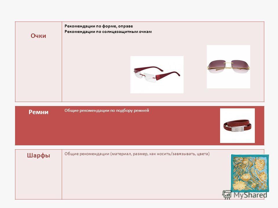 Очки Рекомендации по форме, оправе Рекомендации по солнцезащитным очкам Ремни Общие рекомендации по подбору ремней Шарфы Общие рекомендации (материал, размер, как носить/завязывать, цвета)