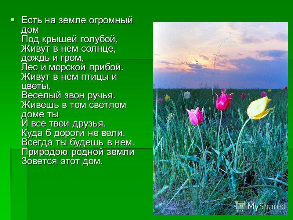 Есть на земле огромный дом Под крышей голубой, Живут в нем солнце, дождь и гром, Лес и морской прибой. Живут в нем птицы и цветы, Веселый звон ручья. Живешь в том светлом доме ты И все твои друзья. Куда б дороги не вели, Всегда ты будешь в нем. Приро