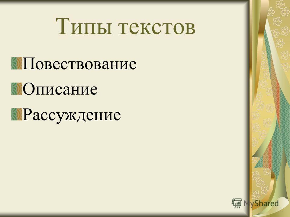 Типы текстов Повествование Описание Рассуждение
