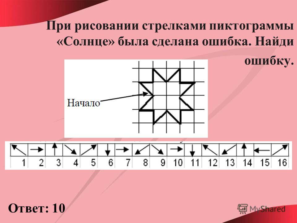 При рисовании стрелками пиктограммы «Солнце» была сделана ошибка. Найди ошибку. Ответ: 10