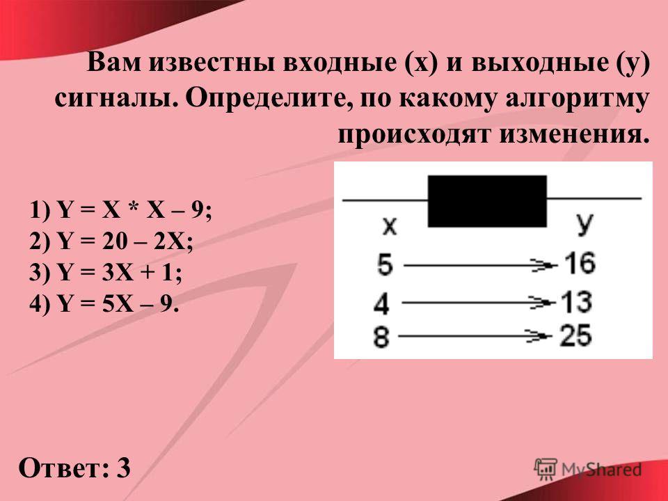 Вам известны входные (x) и выходные (y) сигналы. Определите, по какому алгоритму происходят изменения. 1) Y = X * X – 9; 2) Y = 20 – 2X; 3) Y = 3X + 1; 4) Y = 5X – 9. Ответ: 3