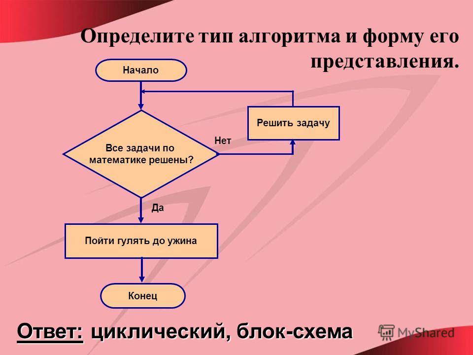 Определите тип алгоритма и форму его представления. Ответ: циклический, блок-схема Начало Все задачи по математике решены? Решить задачу Пойти гулять до ужина Конец Да Нет
