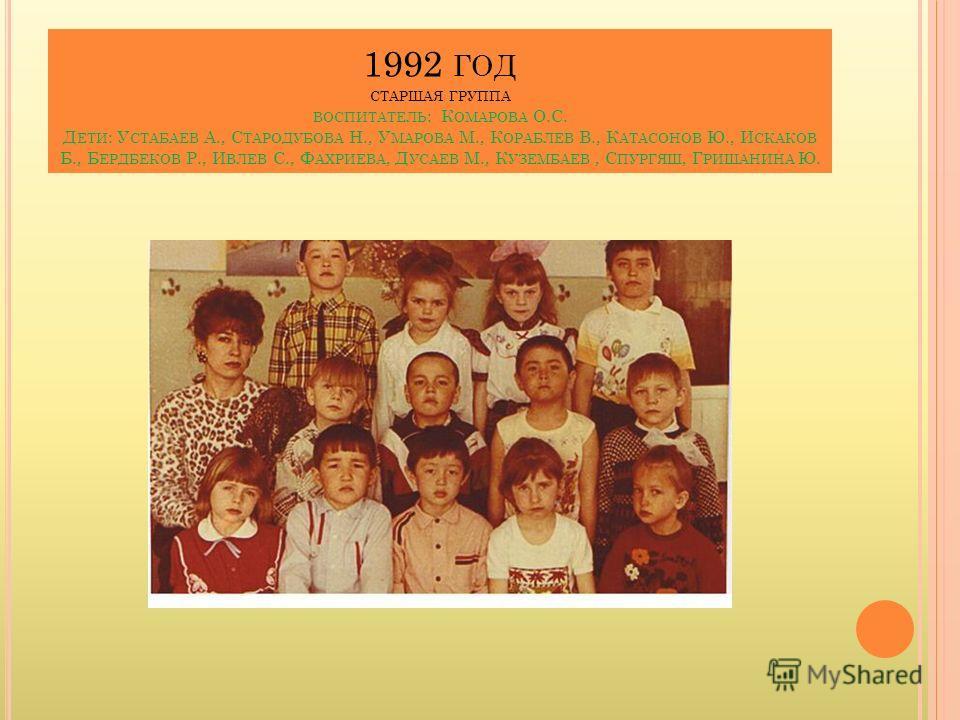 1992 ГОД СТАРШАЯ ГРУППА ВОСПИТАТЕЛЬ : К ОМАРОВА О.С. Д ЕТИ : У СТАБАЕВ А., С ТАРОДУБОВА Н., У МАРОВА М., К ОРАБЛЕВ В., К АТАСОНОВ Ю., И СКАКОВ Б., Б ЕРДБЕКОВ Р., И ВЛЕВ С., Ф АХРИЕВА, Д УСАЕВ М., К УЗЕМБАЕВ, С ПУРГЯШ, Г РИШАНИНА Ю.