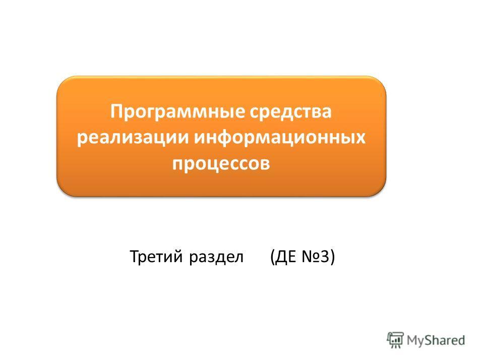 Программные средства реализации информационных процессов Третий раздел (ДЕ 3)
