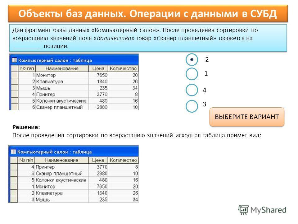 Дан фрагмент базы данных «Компьютерный салон». После проведения сортировки по возрастанию значений поля «Количество» товар «Сканер планшетный» окажется на _________ позиции. Объекты баз данных. Операции с данными в СУБД ВЫБЕРИТЕ ВАРИАНТ Решение: Посл