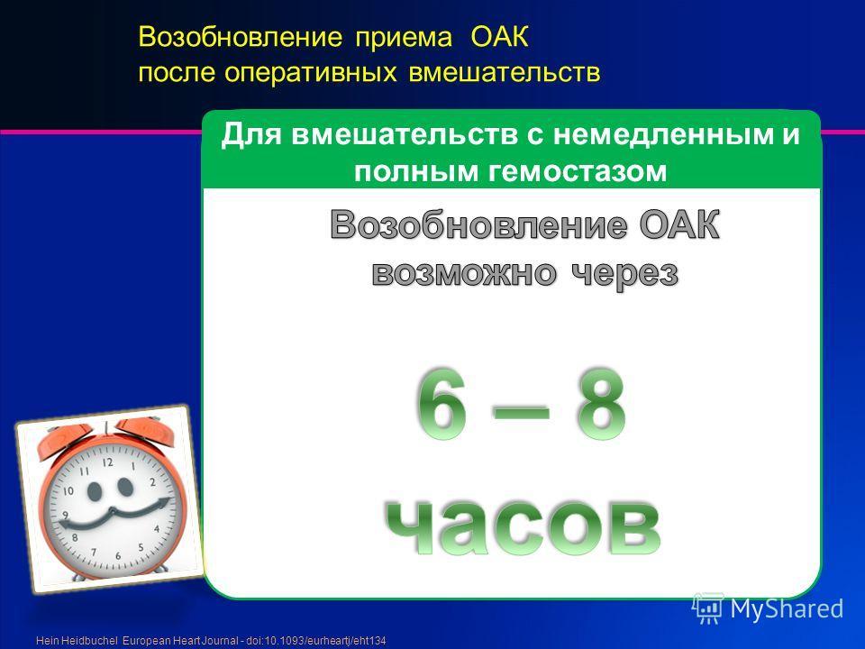 Возобновление приема ОАК после оперативных вмешательств Hein Heidbuchel European Heart Journal - doi:10.1093/eurheartj/eht134