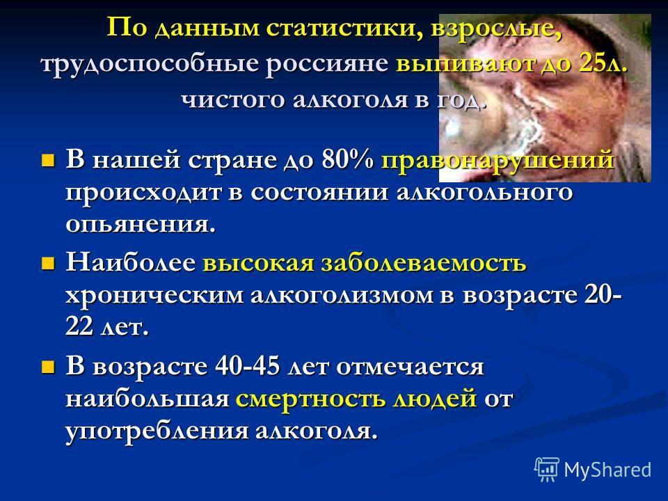 По данным статистики, взрослые, трудоспособные россияне выпивают до 25 л. чистого алкоголя в год. В нашей стране до 80% правонарушений происходит в состоянии алкогольного опьянения. В нашей стране до 80% правонарушений происходит в состоянии алкоголь