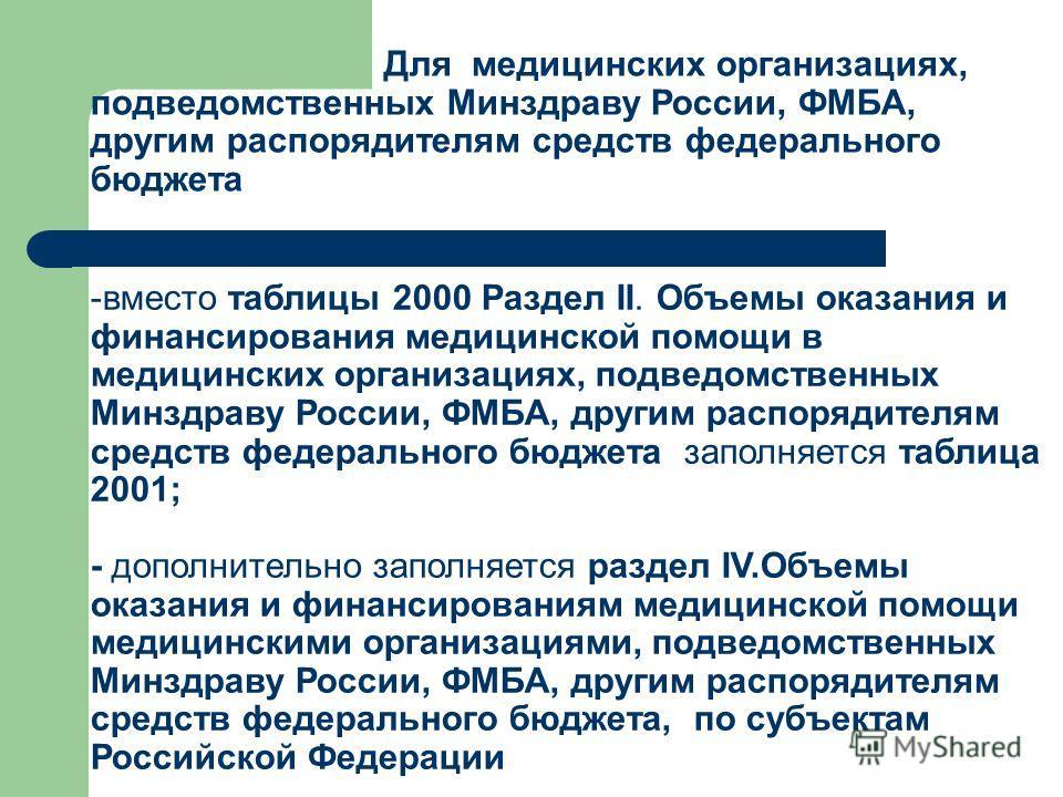 Для медицинских организациях, подведомственных Минздраву России, ФМБА, другим распорядителям средств федерального бюджета -вместо таблицы 2000 Раздел II. Объемы оказания и финансирования медицинской помощи в медицинских организациях, подведомственных
