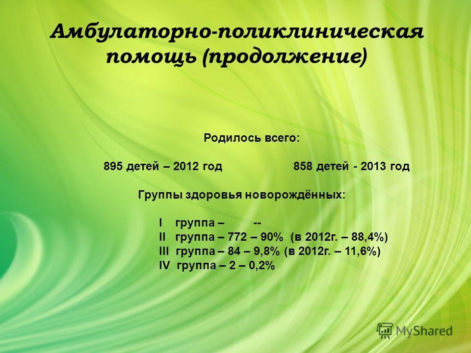 Амбулаторно-поликлиническая помощь (продолжение ) Родилось всего: 895 детей – 2012 год 858 детей - 2013 год Группы здоровья новорождённых: I группа – -- II группа – 772 – 90% (в 2012 г. – 88,4%) III группа – 84 – 9,8% (в 2012 г. – 11,6%) IV группа –