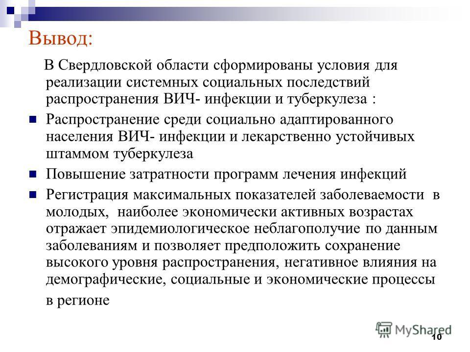10 Вывод: В Свердловской области сформированы условия для реализации системных социальных последствий распространения ВИЧ- инфекции и туберкулеза : Распространение среди социально адаптированного населения ВИЧ- инфекции и лекарственно устойчивых штам