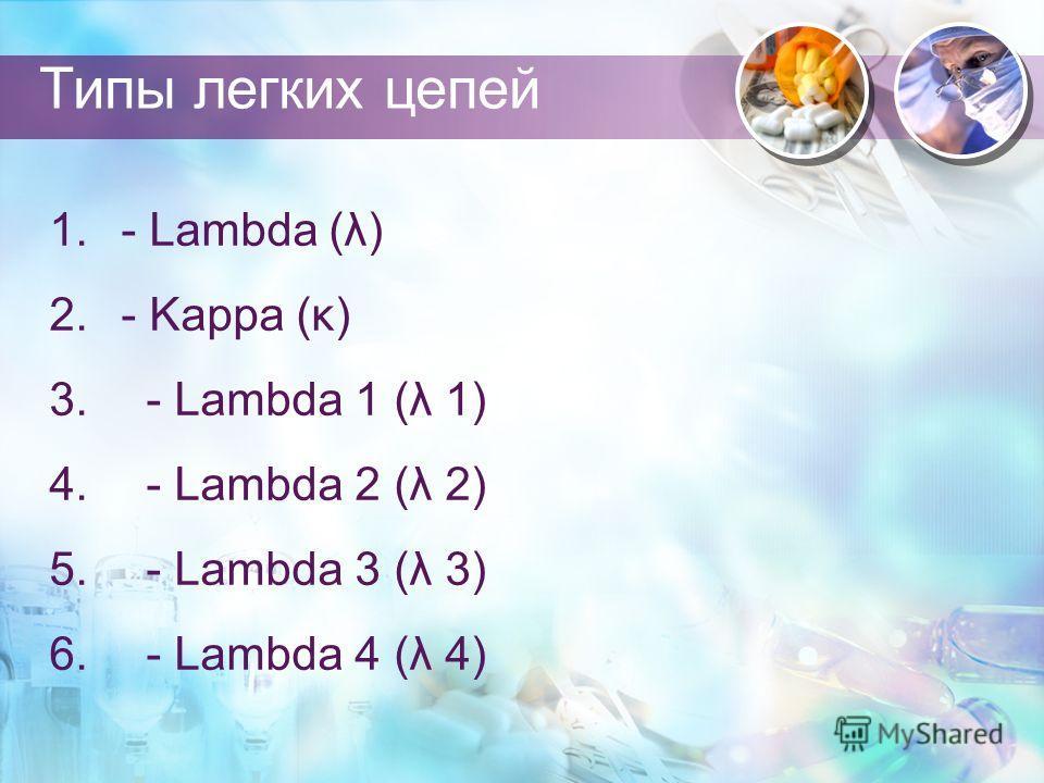 Типы легких цепей 1. - Lambda (λ) 2. - Kappa (κ) 3. - Lambda 1 (λ 1) 4. - Lambda 2 (λ 2) 5. - Lambda 3 (λ 3) 6. - Lambda 4 (λ 4)