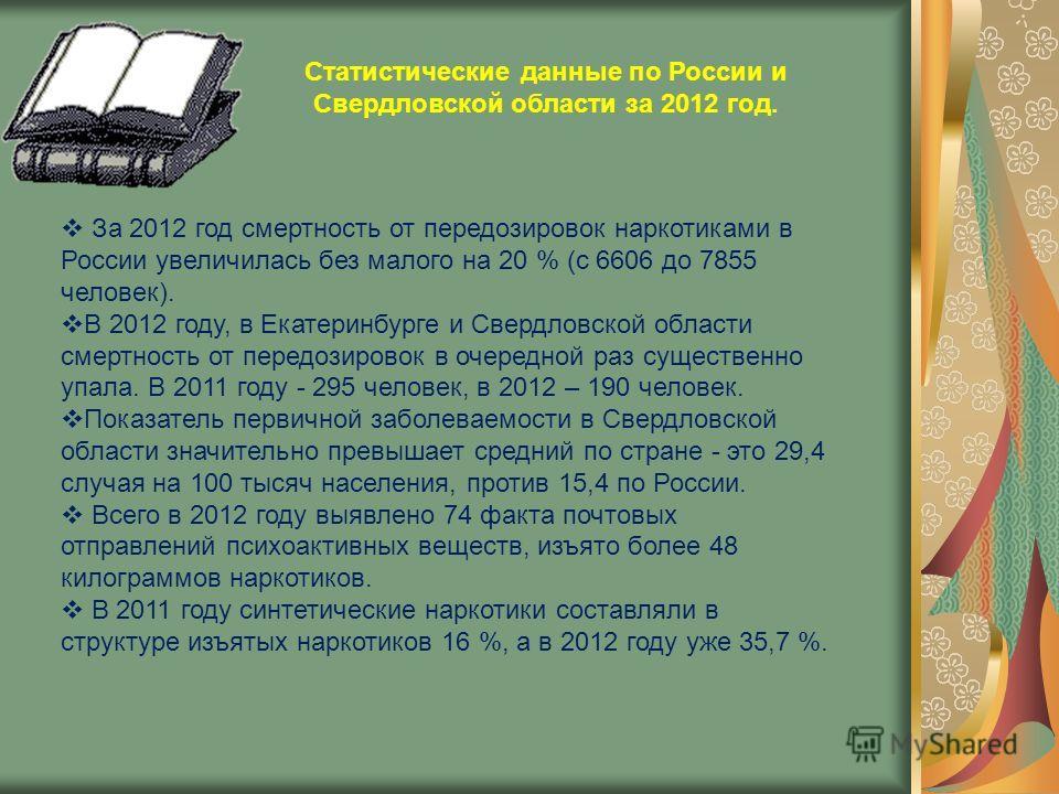 Статистические данные по России и Свердловской области за 2012 год. За 2012 год смертность от передозировок наркотиками в России увеличилась без малого на 20 % (с 6606 до 7855 человек). В 2012 году, в Екатеринбурге и Свердловской области смертность о