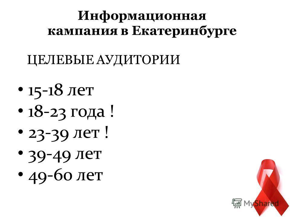 ЦЕЛЕВЫЕ АУДИТОРИИ 15-18 лет 18-23 года ! 23-39 лет ! 39-49 лет 49-60 лет Информационная кампания в Екатеринбурге