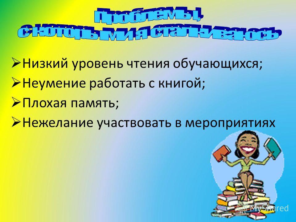Низкий уровень чтения обучающихся; Неумение работать с книгой; Плохая память; Нежелание участвовать в мероприятиях