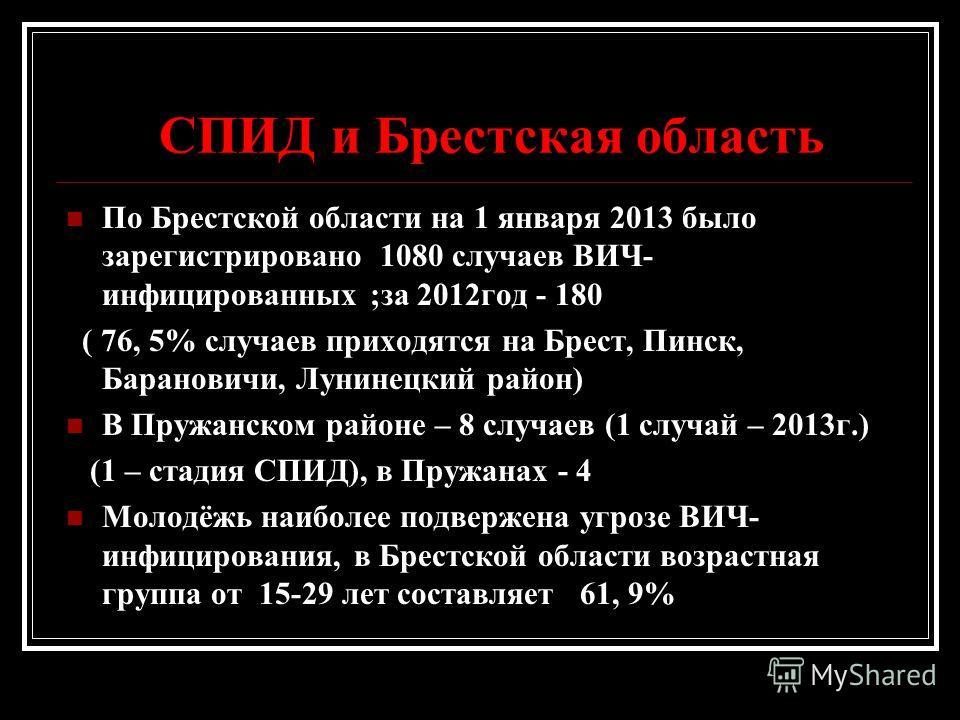 СПИД и Брестская область По Брестской области на 1 января 2013 было зарегистрировано 1080 случаев ВИЧ- инфицированных ;за 2012 год - 180 ( 76, 5% случаев приходятся на Брест, Пинск, Барановичи, Лунинецкий район) В Пружанском районе – 8 случаев (1 слу