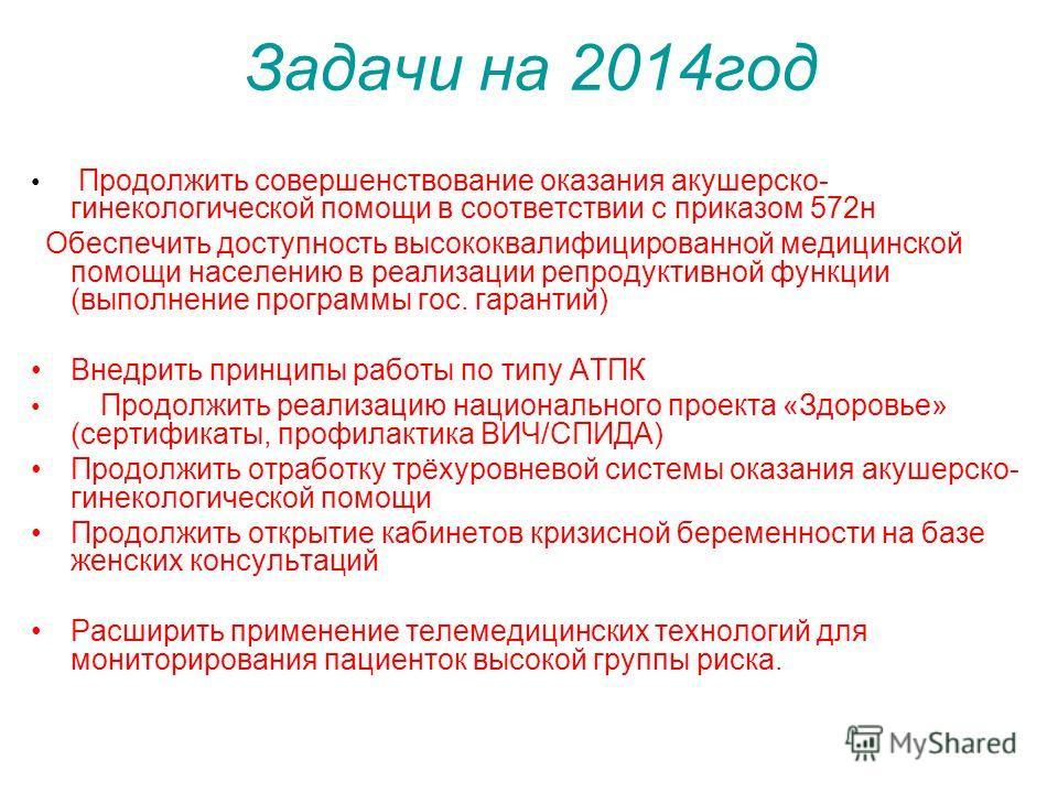 Задачи на 2014 год Продолжить совершенствование оказания акушерско- гинекологической помощи в соответствии с приказом 572 н Обеспечить доступность высококвалифицированной медицинской помощи населению в реализации репродуктивной функции (выполнение пр