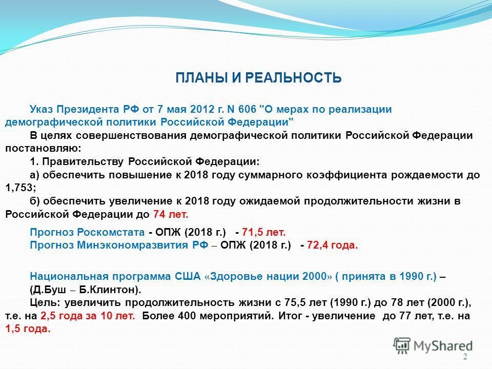 2 ПЛАНЫ И РЕАЛЬНОСТЬ Указ Президента РФ от 7 мая 2012 г. N 606
