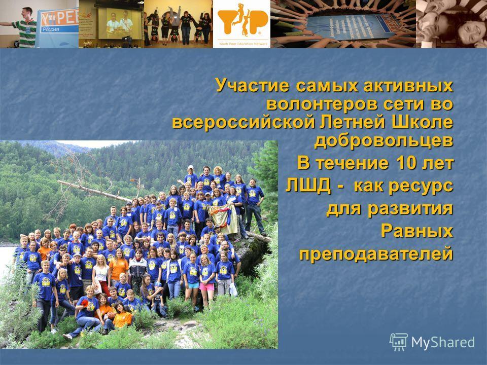 Участие самых активных волонтеров сети во всероссийской Летней Школе добровольцев В течение 10 лет ЛШД - как ресурс для развития для развития Равных преподавателей преподавателей