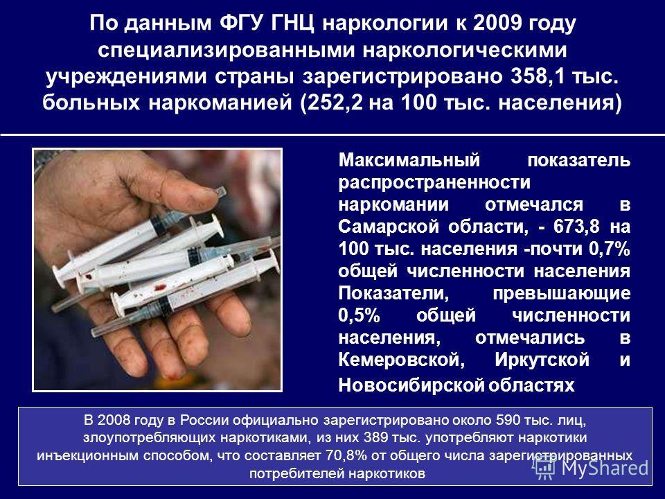 По данным ФГУ ГНЦ наркологии к 2009 году специализированными наркологическими учреждениями страны зарегистрировано 358,1 тыс. больных наркоманией (252,2 на 100 тыс. населения) Максимальный показатель распространенности наркомании отмечался в Самарско