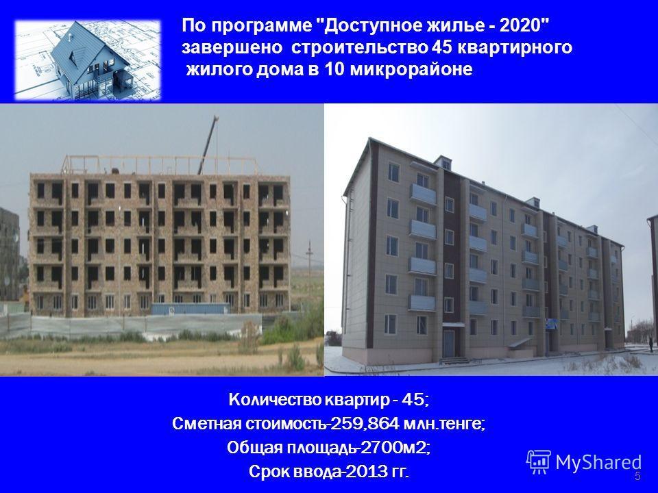 Количество квартир - 45; Сметная стоимость-259,864 млн.тенге; Общая площадь-2700 м 2; Срок ввода-2013 гг. 5