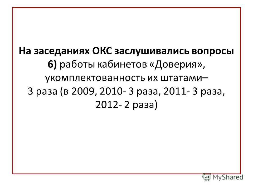На заседаниях ОКС заслушивались вопросы 6) работы кабинетов «Доверия», укомплектованность их штатами– 3 раза (в 2009, 2010- 3 раза, 2011- 3 раза, 2012- 2 раза)