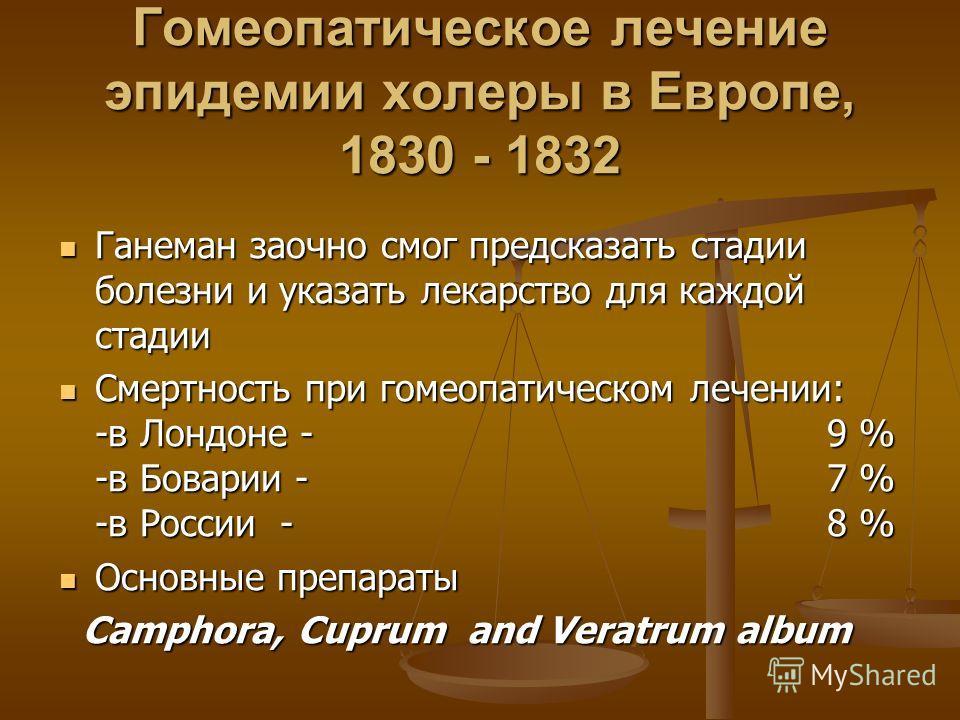 Гомеопатическое лечение эпидемии холеры в Европе, 1830 - 1832 Ганеман заочно смог предсказать стадии болезни и указать лекарство для каждой стадии Ганеман заочно смог предсказать стадии болезни и указать лекарство для каждой стадии Смертность при гом