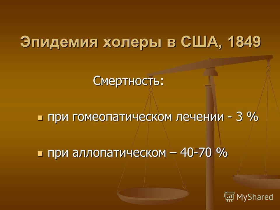 Эпидемия холеры в США, 1849 Смертность: Смертность: при гомеопатическом лечении - 3 % при гомеопатическом лечении - 3 % при аллопатическом – 40-70 % при аллопатическом – 40-70 %