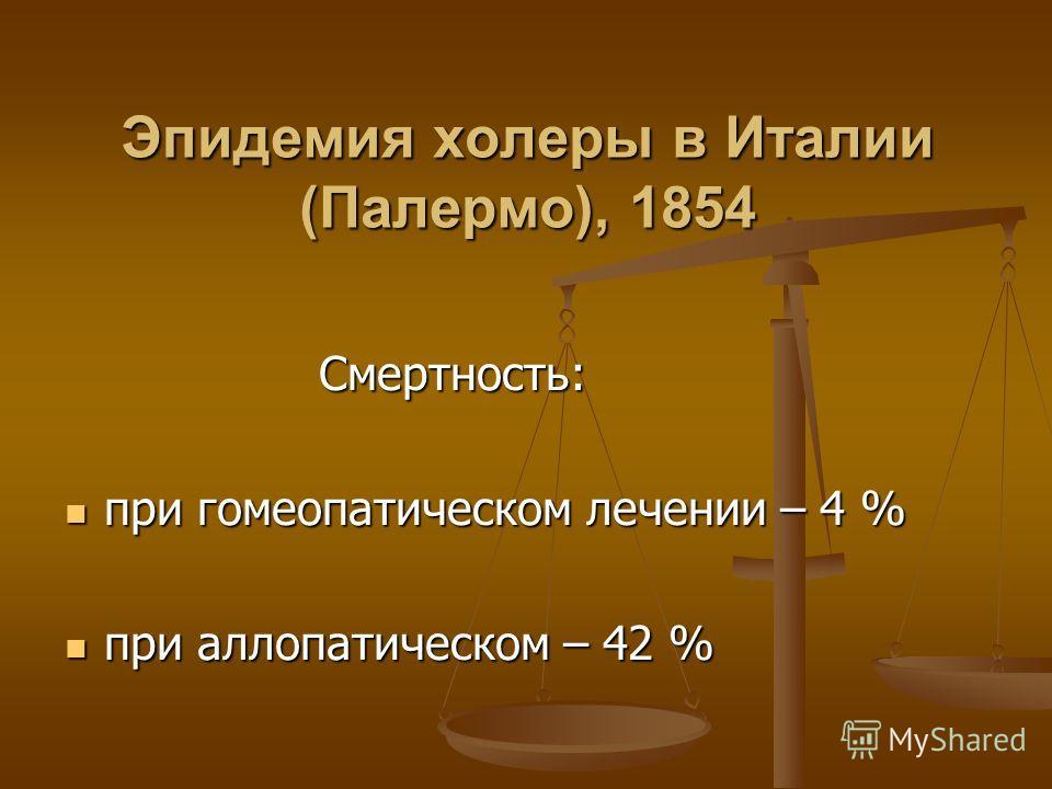 Эпидемия холеры в Италии (Палермо), 1854 Смертность: Смертность: при гомеопатическом лечении – 4 % при гомеопатическом лечении – 4 % при аллопатическом – 42 % при аллопатическом – 42 %