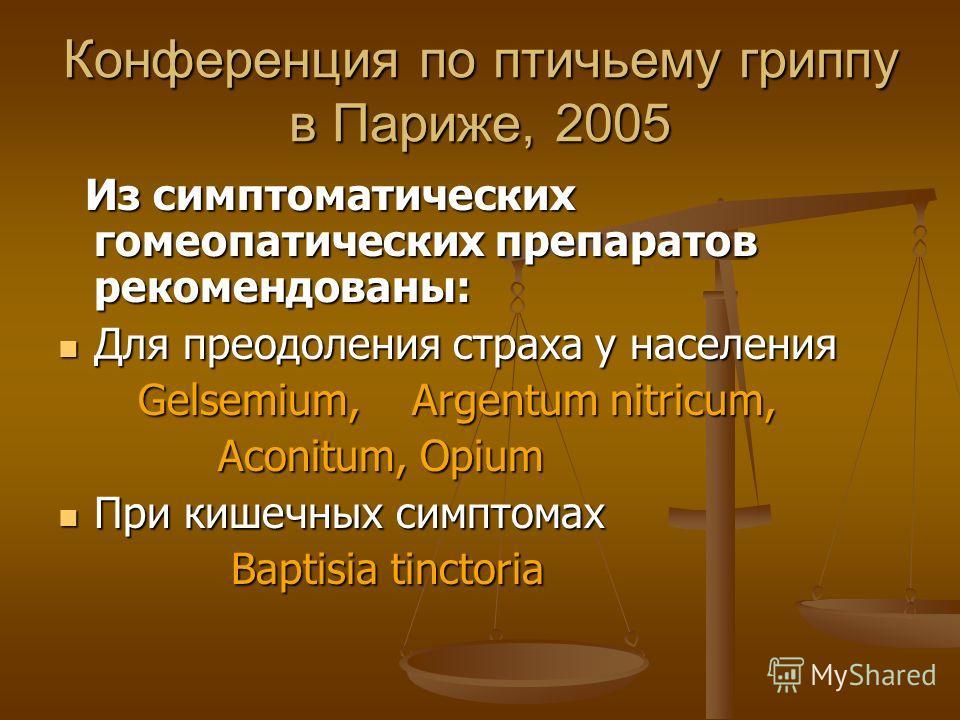 Конференция по птичьему гриппу в Париже, 2005 Из симптоматических гомеопатических препаратов рекомендованы: Из симптоматических гомеопатических препаратов рекомендованы: Для преодоления страха у населения Для преодоления страха у населения Gelsemium,