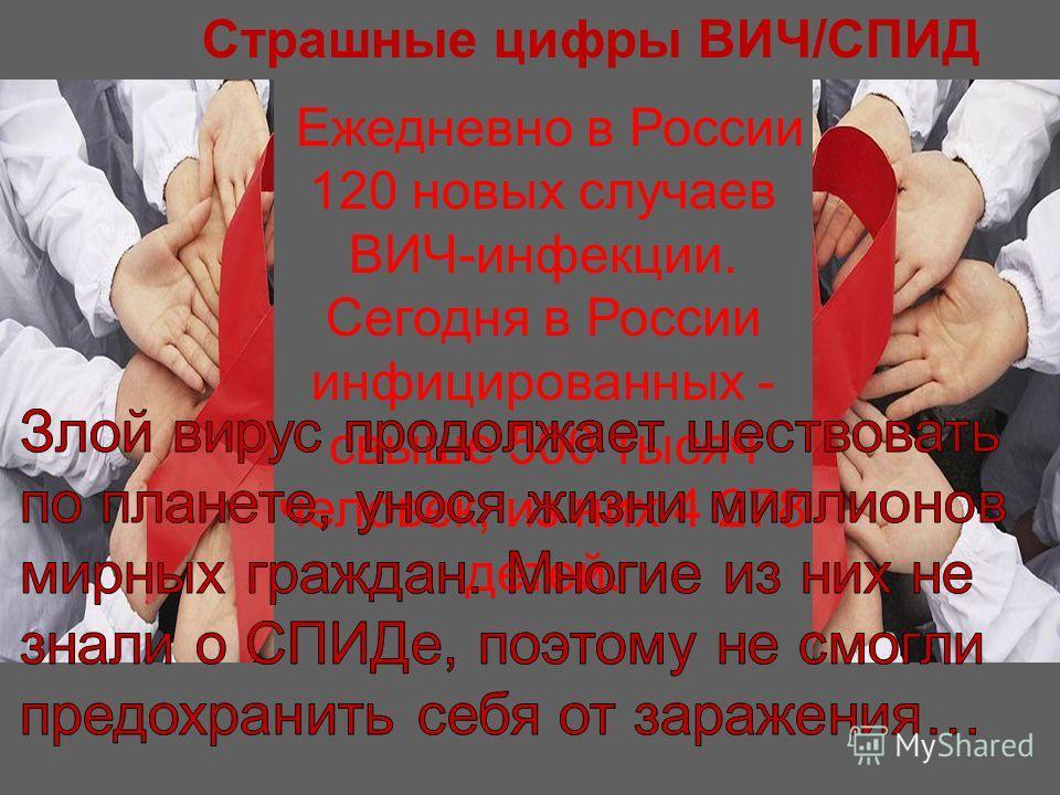Страшные цифры ВИЧ/СПИД Ежедневно в России 120 новых случаев ВИЧ-инфекции. Сегодня в России инфицированных - свыше 500 тысяч человек, из них 4 278 детей.