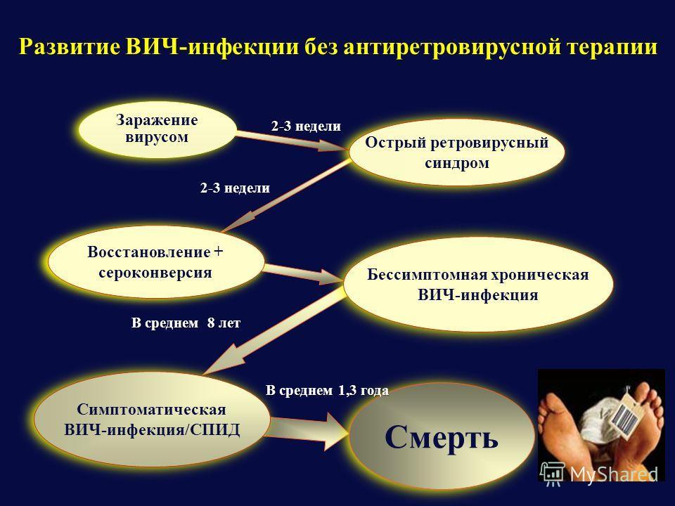 Развитие ВИЧ-инфекции без антиретровирусной терапии Смерть В среднем 1,3 года Симптоматическая ВИЧ-инфекция/СПИД Симптоматическая ВИЧ-инфекция/СПИД В среднем 8 лет Бессимптомная хроническая ВИЧ-инфекция Восстановление + сероконверсия 2-3 недели Остры