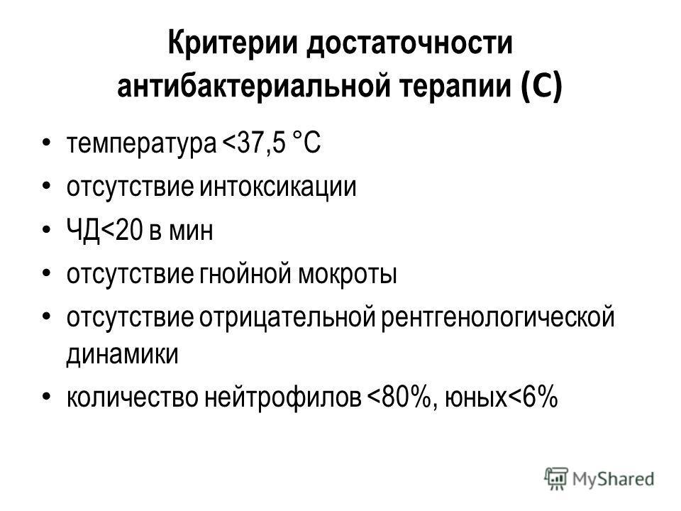Критерии достаточности антибактериальной терапии (С) температура