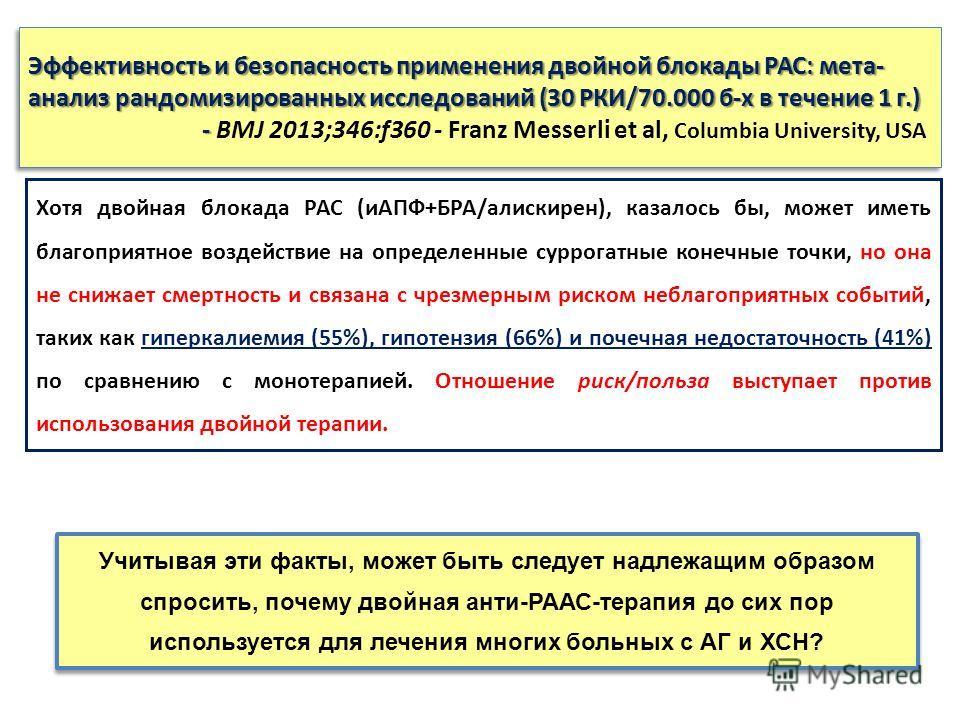 Эффективность и безопасность применения двойной блокады РАС: мета- анализ рандомизированных исследований (30 РКИ/70.000 б-х в течение 1 г.) - Эффективность и безопасность применения двойной блокады РАС: мета- анализ рандомизированных исследований (30