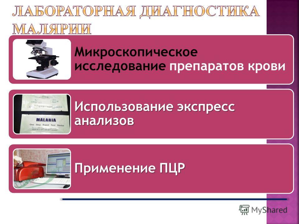 Микроскопическое исследование препаратов крови Использование экспресс анализов Применение ПЦР