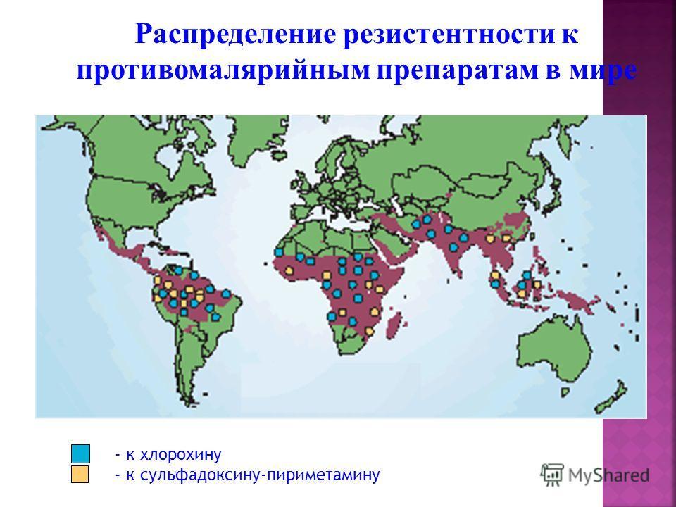 Распределение резистентности к противомалярийным препаратам в мире - к хлорохину - к сульфадоксину-пириметамину