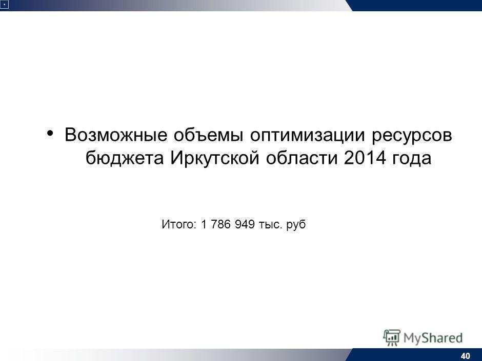 Возможные объемы оптимизации ресурсов бюджета Иркутской области 2014 года 40 Итого: 1 786 949 тыс. руб