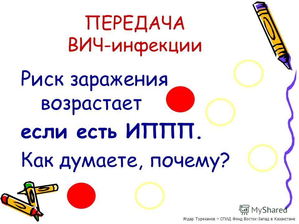 ПЕРЕДАЧА ВИЧ-инфекции Риск заражения возрастает если есть ИППП. Как думаете, почему? Ягдар Туреханов – СПИД Фонд Восток-Запад в Казахстане