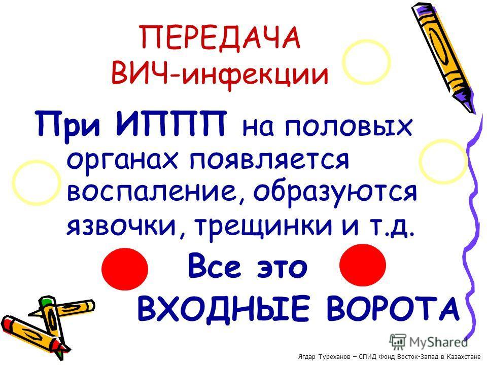 ПЕРЕДАЧА ВИЧ-инфекции При ИППП на половых органах появляется воспаление, образуются язвочки, трещинки и т.д. Все это ВХОДНЫЕ ВОРОТА Ягдар Туреханов – СПИД Фонд Восток-Запад в Казахстане