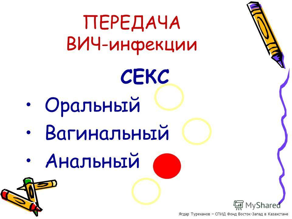 ПЕРЕДАЧА ВИЧ-инфекции СЕКС Оральный Вагинальный Анальный Ягдар Туреханов – СПИД Фонд Восток-Запад в Казахстане
