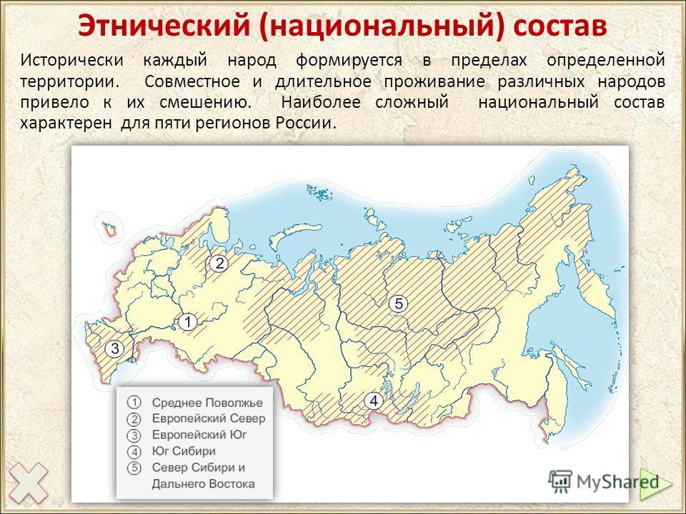 Этнический (национальный) состав Исторически каждый народ формируется в пределах определенной территории. Совместное и длительное проживание различных народов привело к их смешению. Наиболее сложный национальный состав характерен для пяти регионов Ро