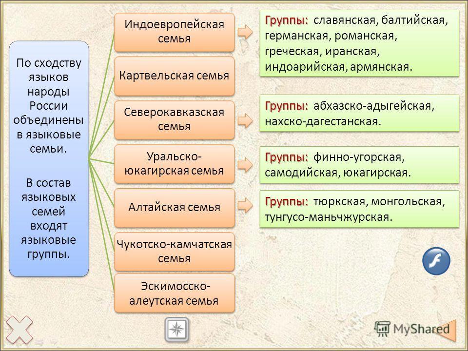 По сходству языков народы России объединены в языковые семьи. В состав языковых семей входят языковые группы. Индоевропейская семья Картвельская семья Северокавказская семья Уральско- юкагирская семья Алтайская семья Чукотско-камчатская семья Эскимос