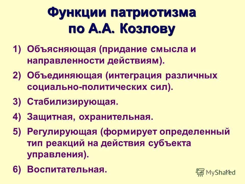 11 Функции патриотизма по А.А. Козлову 1)Объясняющая (придание смысла и направленности действиям). 2)Объединяющая (интеграция различных социально-политических сил). 3)Стабилизирующая. 4)Защитная, охранительная. 5)Регулирующая (формирует определенный