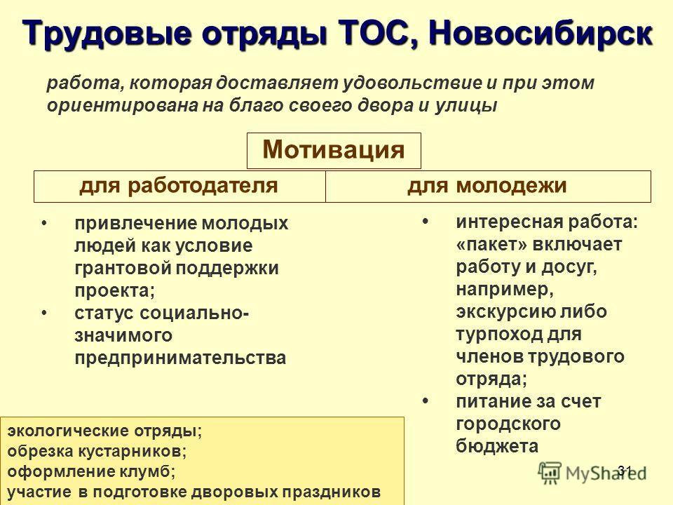 31 Трудовые отряды ТОС, Новосибирск работа, которая доставляет удовольствие и при этом ориентирована на благо своего двора и улицы привлечение молодых людей как условие грантовой поддержки проекта; статус социально- значимого предпринимательства инте