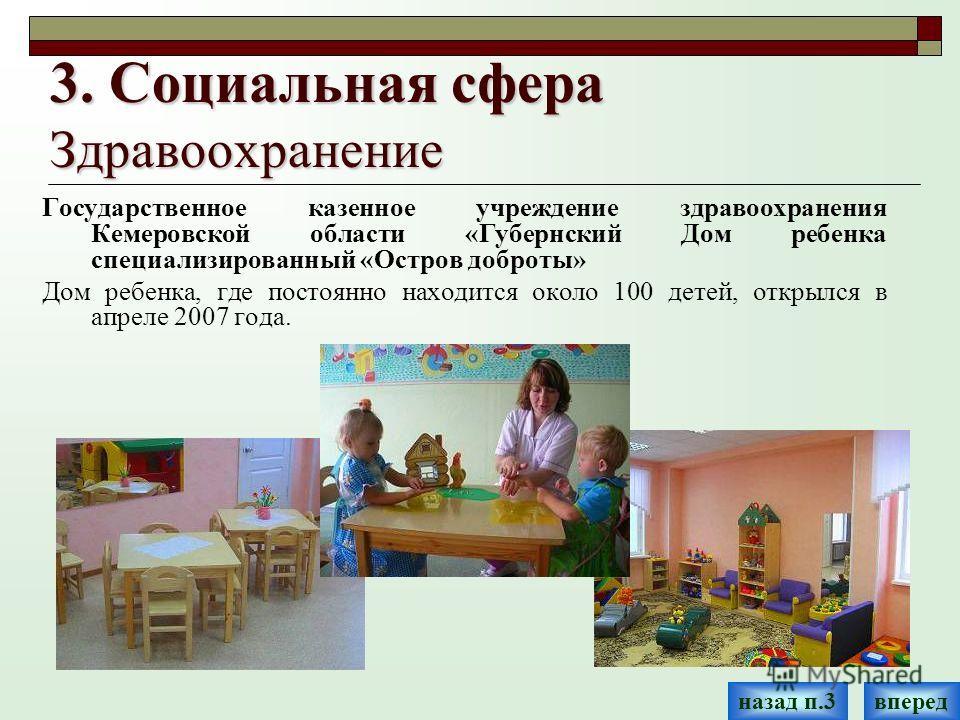 3. Социальная сфера Здравоохранение Государственное казенное учреждение здравоохранения Кемеровской области «Губернский Дом ребенка специализированный «Остров доброты» Дом ребенка, где постоянно находится около 100 детей, открылся в апреле 2007 года.