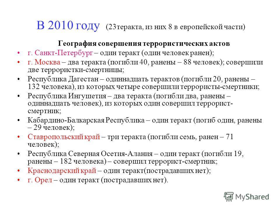 В 2010 году (23 теракта, из них 8 в европейской части) География совершения террористических актов г. Санкт-Петербург – один теракт (один человек ранен); г. Москва – два теракта (погибли 40, ранены – 88 человек); совершили две террористки-смертницы;